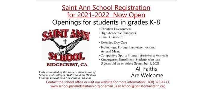 St Ann School Registration